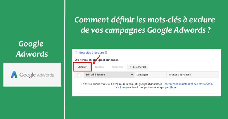 Mots-cles exclusion Adwords