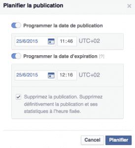 Definition expiration Facebook