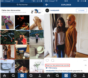 Instagram Decouverte de contenus