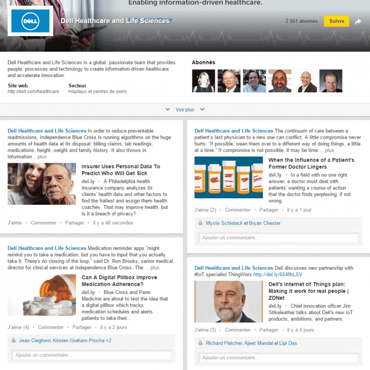 LinkedIn Page Entreprise showcase Dell
