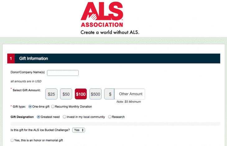 Page recolte de dons ALS