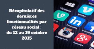 Nouveautes au 19 octobre 2015