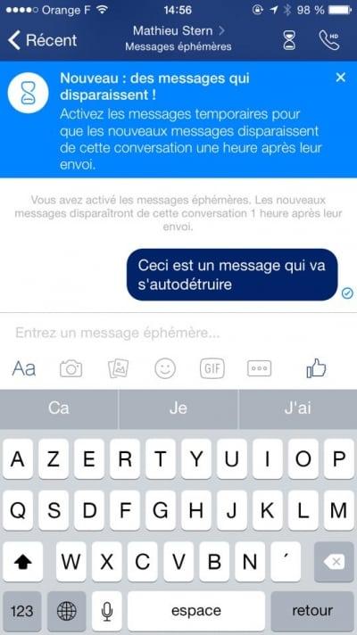 Message ephemere Facebook