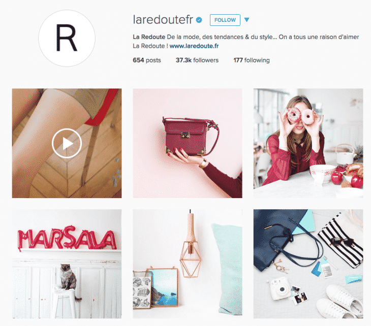 page Instagram La Redoute