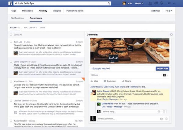 Onglet Commentaires Facebook