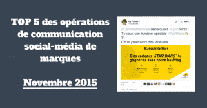 TOP 5 Operations social media Novembre 2015