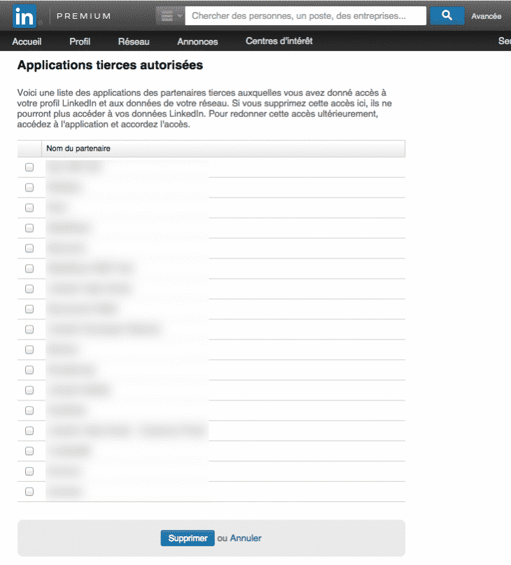 Applications Tierces Linkedin