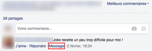 Message prive Facebook