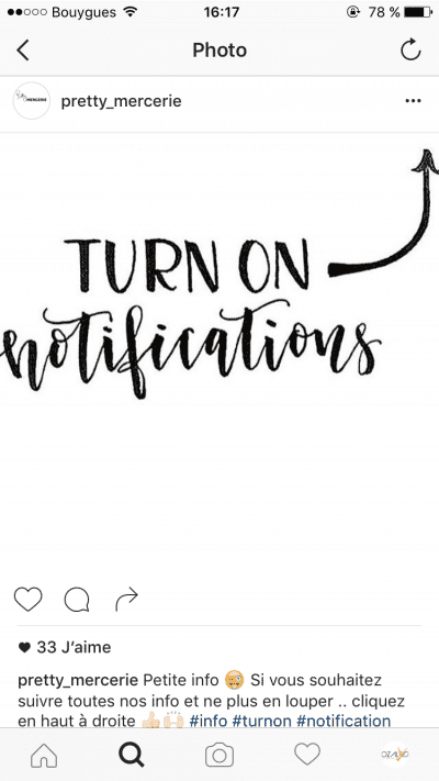 Notifications Instagram