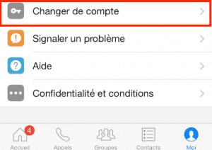 Changement de compte Messenger