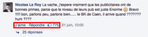 Commentaires positifs Burger King