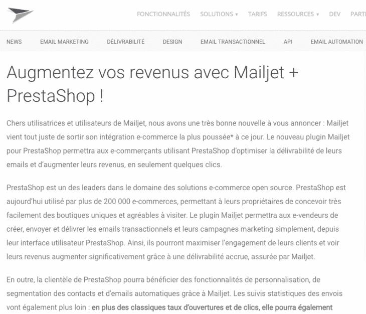 Mailjet Prestashop
