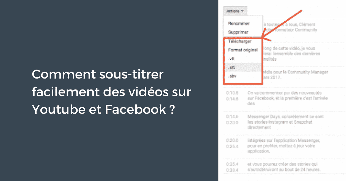 Sous-titres Videos Facebook Youtube