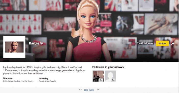 barbie page Linkedin