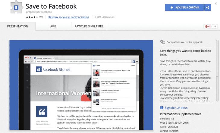 Extension Save Facebook