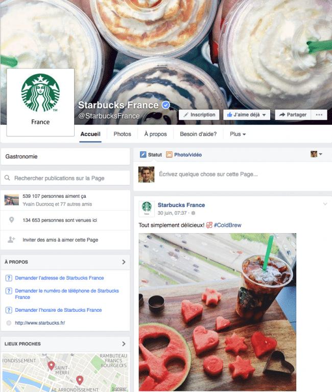 Format actuel page Facebook