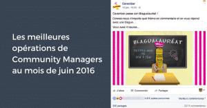 Les meilleures opérations de Community Manager au mois de juin 2016