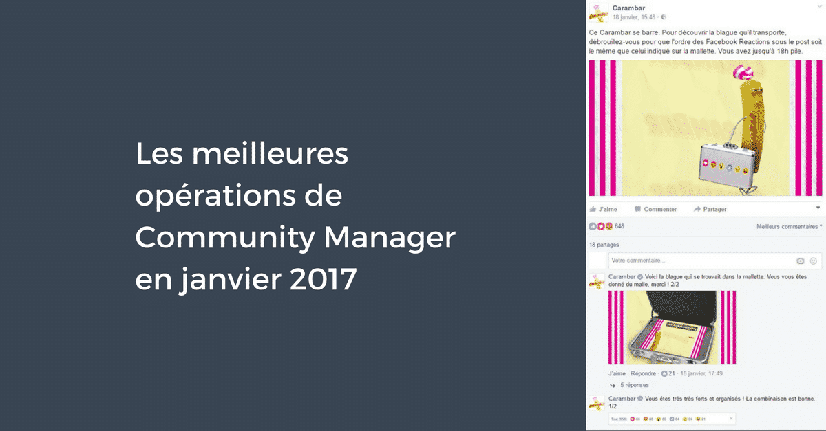 Meilleures Operations Community Manager Janvier 2017