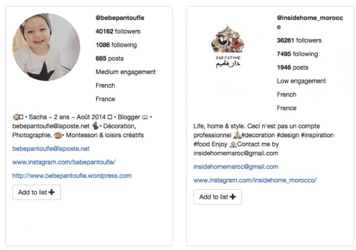 Exemples influenceurs Moju