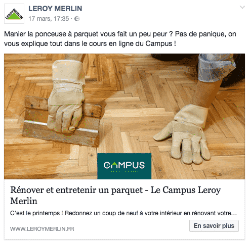Publication Leroy Merlin Facebook