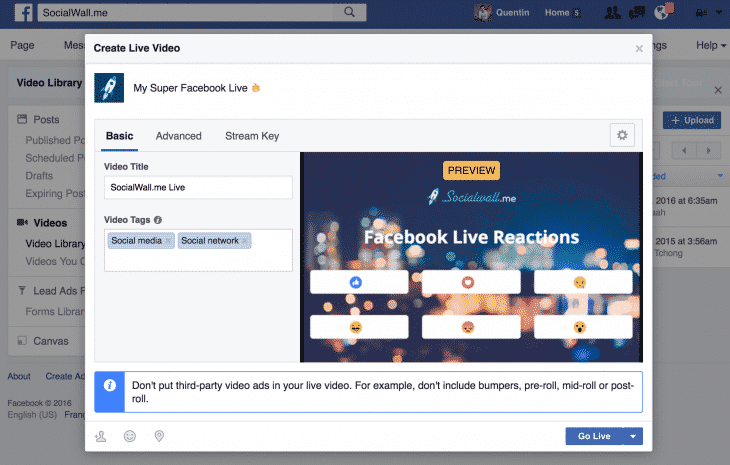 Exemple Facebook Live Reactions