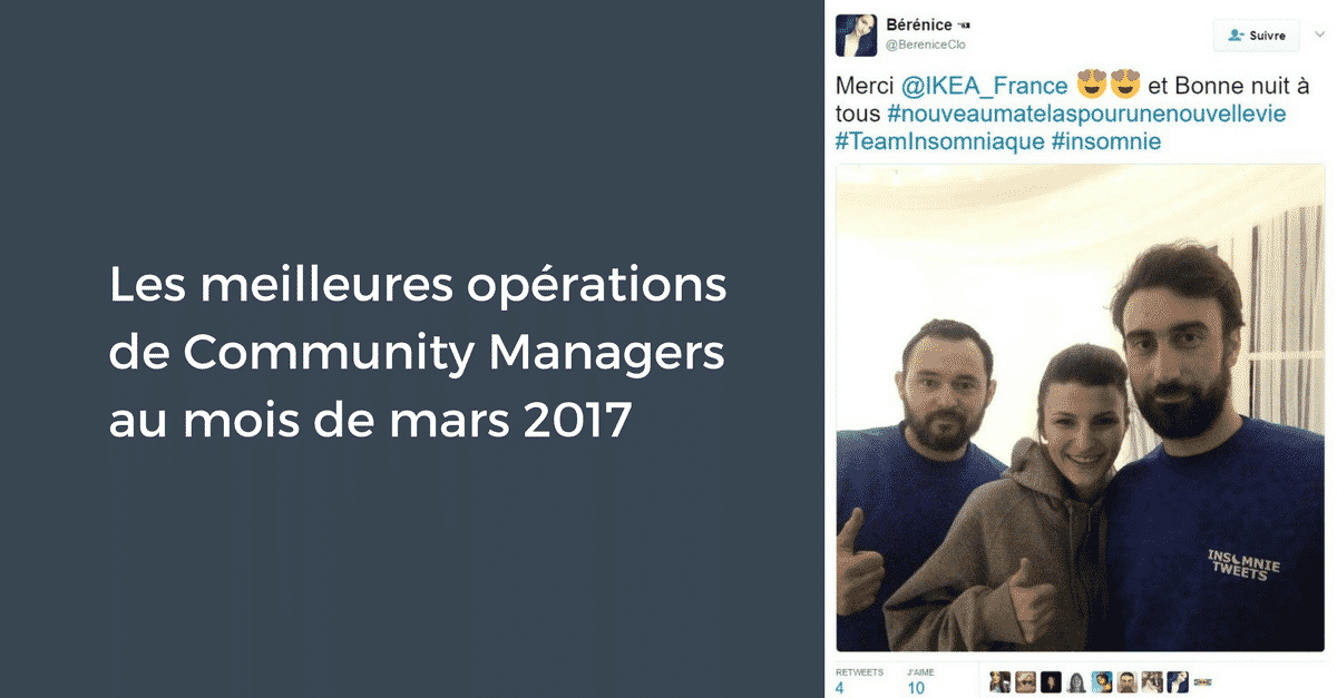 Meilleures operations Community Manager Mars 2017