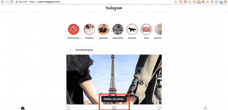 Publier photo Instagram Bureau