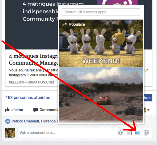 GIF commentaire Facebook