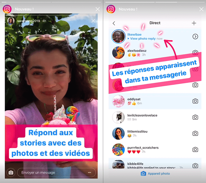 Reponse Story Instagram