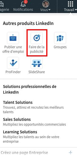 Acceder a la publicite LinkedIn