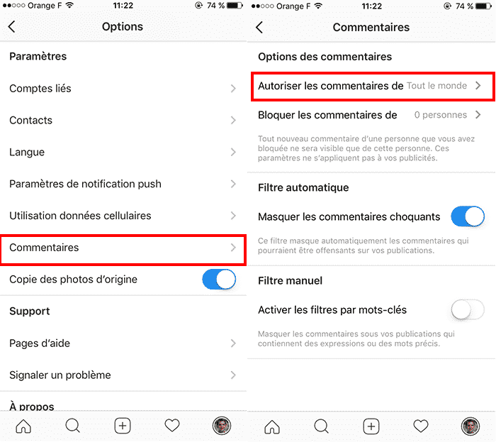 Gestion des commentaires Instagram