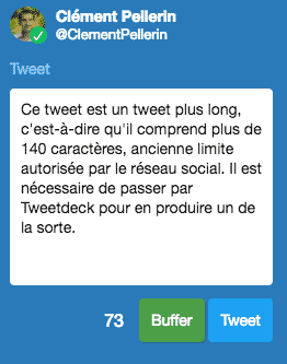Tweet plus long sur Tweetdeck