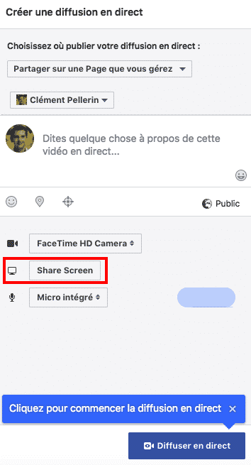 Share Screen Facebook