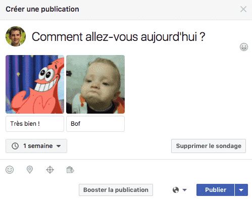 Exemple Sondage Facebook
