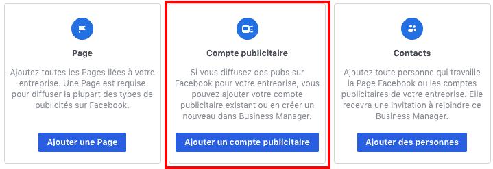 Ajout de pages, comptes publicitaires, contacts sur Facebook Business Manager
